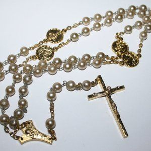 Vintage gold and pearl rosary necklace
